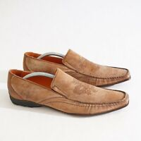 Mark Nason Mens Western Loafer Size 9 Embossed Square Toe Brown Suede Italy Made