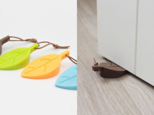 Silicone Door Stop Wedge Stopper Home Decor Safety Jammer Leaf Black Grey