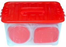 58 Pcs. Plastic Food Container Set 29 Storage Container w/Red Lids BPA Free