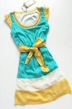 JOY MISS sea foam green skater dress + gold studded L / UK 12