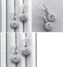 2.61 Ct Near White Round Cut Moissanite Hoop Earrings 925 Sterling Silver