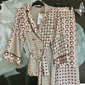 Zara Pink Geometric Print Trousers And Top Shirt Top Co Ord Matching Set Size S