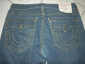 TRUE RELIGION RICKY MEN'S BLUE JEANS DENIM 34 X 27 STITCHED ZIP FLY RELAXED USA