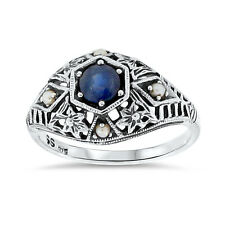 GENUINE  SAPPHIRE SEED PEARL ANTIQUE DECO STYLE .925 SILVER RING SIZE 7, #69