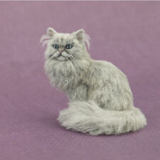OOAK Dollhouse Miniature Silver Persian Cat Sculpture by Kerri Pajutee
