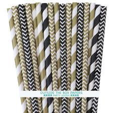 100 Black and Gold Stripe, Chevron Paper Straws