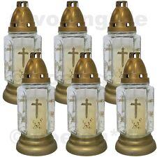 Grablicht Grab-Licht Grabkerze Kerze Friedhofskerze aus Glas weiß im 6er Set