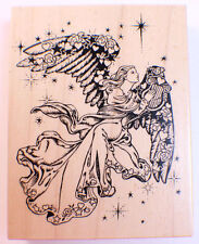Psx Glorious Angel With A Harp K-1332 1994 Golden Angel Wooden Rubber Stamp