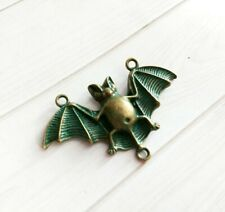 Large Bat Connector Pendant Antiqued Bronze Verdigris Halloween Link Charm 47mm