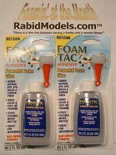 ** TWO ** BEACON FOAM-TAC 2oz GLUE bottles w/nozzle FOAM SAFE clear & flexible