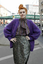 Lucie Linden Damen Bluse blouse lila purple 80s True VINTAGE women 80er Schleife