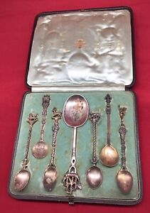 Antique 800 Silver SPOONS ornate 1894 France Italy figural lion ship set w box