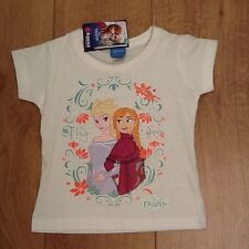 New Girls Disney Princess Frozen Anna and Elsa White T-Shirt Age 2 Years