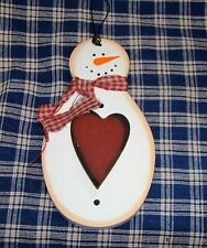 "Cute Snowman wall or tree decor ornament 5"" x 2-3/4"" Gingham scarf Red Heart"