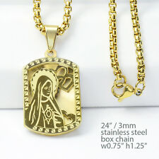 3D Guadalupe Virgin Mary Pendant Stainless Steel G / S / TT Chain Necklace 149