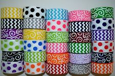 "30 YDS 7/8'' & 1"" GROSGRAIN RIBBON MIXED LOT CHEVRON, DOT & SWIRLS PRINTED. C17"