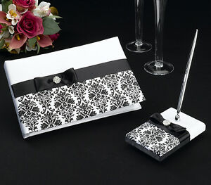 Black And White Damask Satin Covered Wedding Guest Book And Pen Set