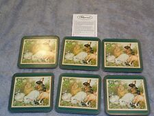 Easter Rabbit Bunny Pimpernel Cork-Backed Drink Coasters England Boxed Set of 6