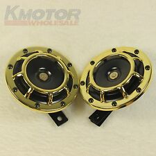 NEW GOLD LOUD BLAST TONE GRILL MOUNT 12V ELECTRIC COMPACT CAR HORN 335HZ/400HZ
