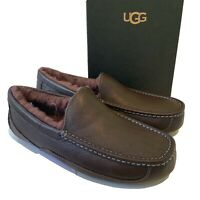 Men's UGG Slippers UK Size 9 10 11 12 Brown Blue Ascot Leather Loafers