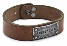 "BRAND NEW! DIESEL DX0571040 BROWN LEATHER & STAINLESS STEEL MEN'S 9"" BRACELET"