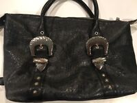 Charm and Luck Croco-embossed Leather w/ Hammered hardware Satchel Tote Bag