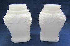 ANTIQUE MILK GLASS SALT AND PEPPER SHAKERS SQUARE, GRAPE PATTERN EAGLE GLASS CO.
