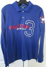 Ralph Lauren Polo Team 3 Skinny Polo Long Sleeve Shirt Youth XL Blue EUC