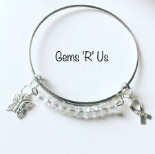 White beaded Awareness Expandable Bangle
