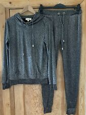 Women's Black And Metalic Silver Thread Lounge Set From Emma & Ashley Size L