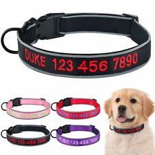 Reflective Personalised Dog Collar Embroidered Custom Boy Girl Pet ID Collars
