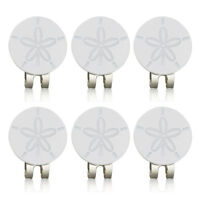 6 pcs white flower Golf ball marker Glittering golf mark with magnet cap clip