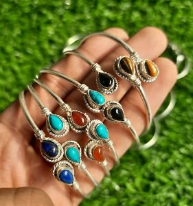Sale 20 Pcs Natural Adjustable Cuff Bangles Lot Mix Gemstone 925 Silver Plated