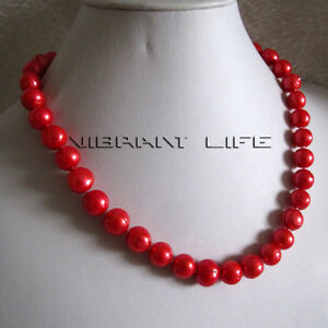 """18"""" 10-12mm Red Freshwater Pearl Necklace Strand Jewelry UE"""