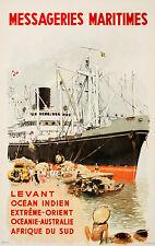 Original Vintage Poster Messageries Maritimes Levant Fren by Brenet c1950 Boat