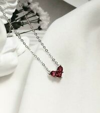 Silver SP Cubic Zirconia Tiny Red Heart Pendant Choker Necklace