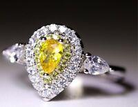 3ct Water Drop Cut Yellow & White AAA CZ 925 Silver Wedding Female Ring Sz 4-9.5