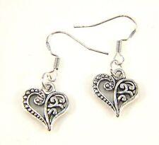 Silver Earrings Dangle Drop Hook Ethnic Tribal Tibetan Boho Vintage Hollow Heart
