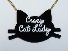 LASER CUT BLACK CAT ACRYLIC NECKLACE - CRAZY CAT LADY - FREE UK P&P.......CG1945