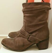 Clarks Ladies Tan Suede Leather Boots Mauritius Slouch Distressed Western UK 8