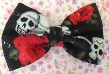 """Handmade Small 3"""" Noir Crâne Rose rouge imprimé rétro en tissu de coton Barrette À Cheveux Nœud Pour"""