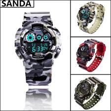SANDA Men Digital LED Alarm Sport Watch Silicone Military Army Quartz Wristwatch