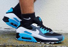 Nike Air Max 90 Shoes Black Dark Grey Laser Blue CT0693-001 Men's Multi Size NEW