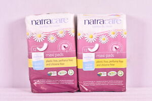 LOT OF 2 Natracare Organic Cotton Maxi Pads, 12ct (24 TOTAL) , EXP:06/2022