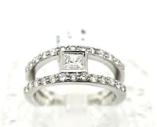 18k White Gold And Princess and Round Cut Diamond Ring. Size 6