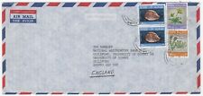 1987 OMAN Air Mail Cover MUSCAT to GUILDFORD GB Sea Shells Flowers