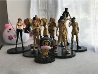 9PS/set One Piece Figure Gold Straw hat Pirates Luffy Nami Zoro Anime Toy No Box