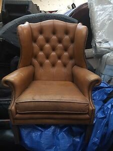 Old Leather Chair Original Chesterfield Style Mustard Leather Used