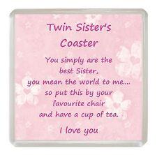 TWIN SISTER Drink Coaster Fun Poem Novelty Birthday Christmas Gift Present Idea