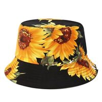 Printed Sunflower Bucket Hat Caps Fisherman Panama Cotton Layer Fabric Sun HN1T9